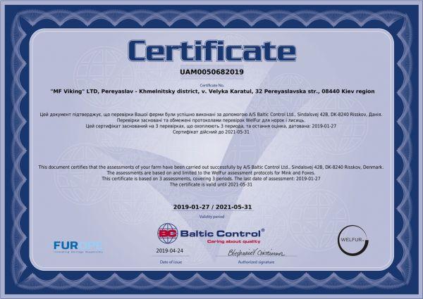 Сертифика welfur норковой фермы Викинг