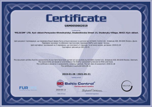 Сертифика welfur норковой фермы Пелском
